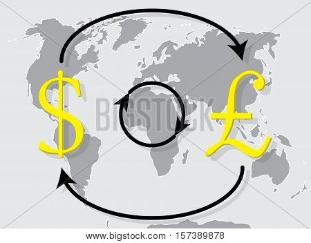 Currency exchange pound sterling dollar on world map background. Exchange icon trade money exchange rate. Vector illustration