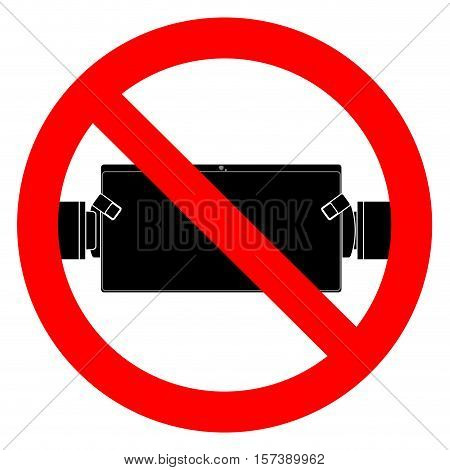 Ban play and use tablet. No playing game prohibited app vector illustration