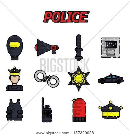 Police flat icon set. Flat style bright concept. Vector illustration for colorful template for you design, web and mobile applications