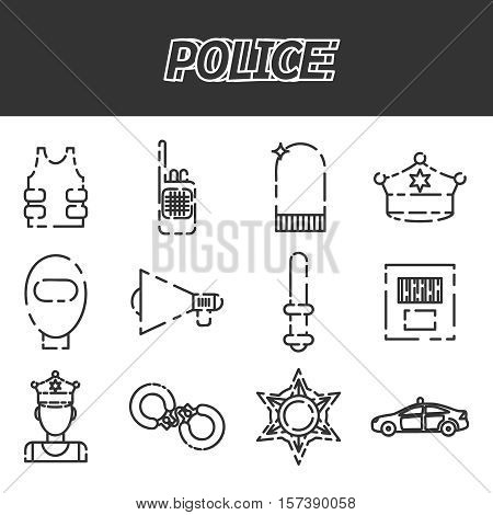 Police icon set. Flat style bright concept. Vector illustration for colorful template for you design, web and mobile applications