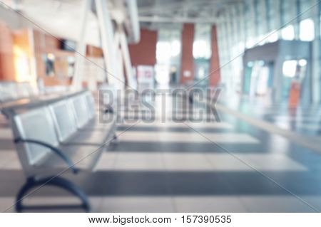 Blurred view of waiting room at the airport or hospital
