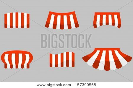 Canopy awning striped store element design. Set of canopy and tent blind and store awning element for storefront or window awning. Vector illustration