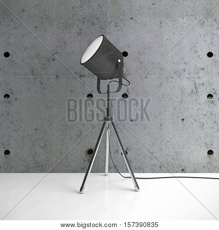 Metalic tripod lamp and concrete wall white floor in empty room