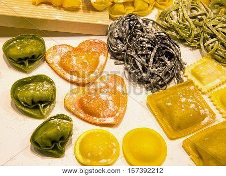 Italian Pasta And Tortellini Stuffed Heart-shaped