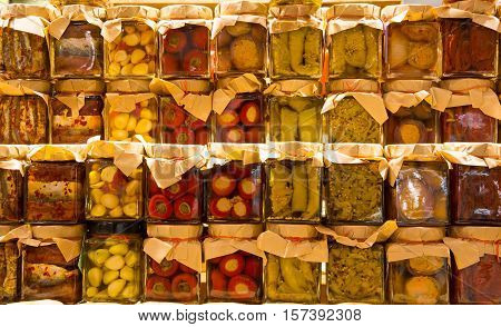 Many Jars With Preserved Italian Food