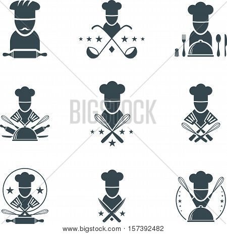 Set of flat cooking icons. Cooking symbols