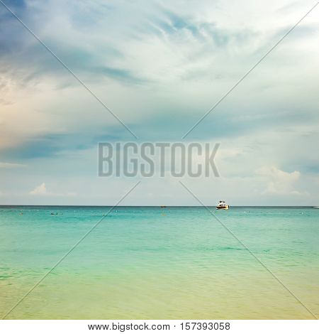 Idyllic seascape with turqoise sea water and beach