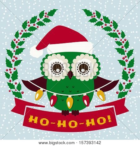 Ho-Ho-Ho! Christmas greeting card with cute owl in Santa hat. Vector illustration.