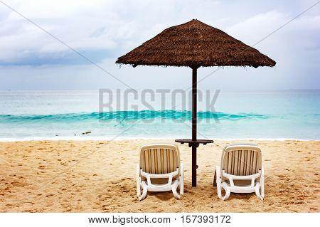 Sandy Coastine With Chaise-longue