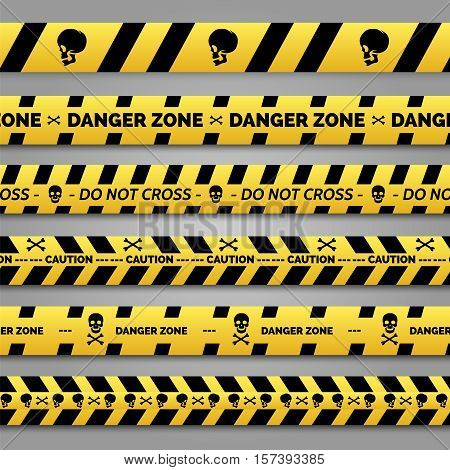 Danger tapes set vector. Yellow and black danger tapes with skulls and bones cross