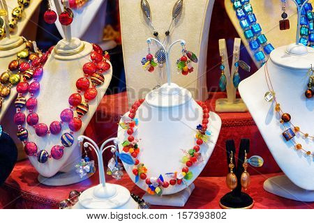 Colorful Jewelry From Murano Glass In Shop Window, Venice, Ital