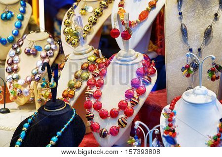 Original Jewelry From Murano Glass In Shop Window, Venice, Italy