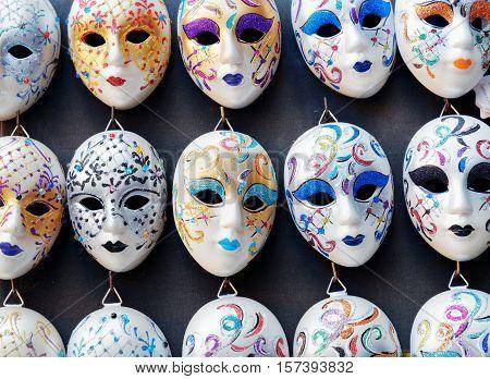 Venetian Masks In Shop On The Rialto Bridge In Venice, Italy