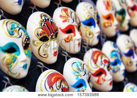 Venetian Full-face Masks For Carnival In Shop, Venice, Italy