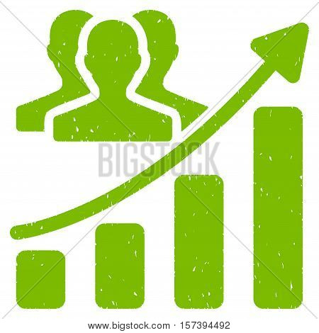 Audience Growth Chart grainy textured icon for overlay watermark stamps. Flat symbol with scratched texture. Dotted vector eco green ink rubber seal stamp with grunge design on a white background.