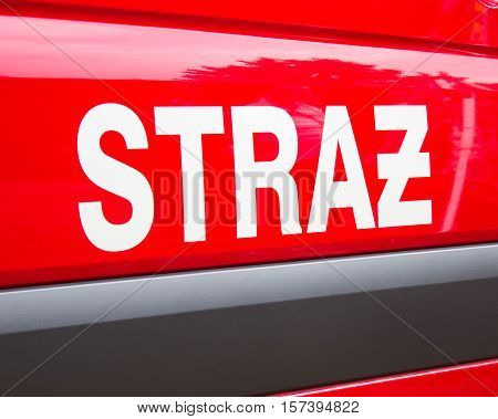 Poland, Poznań -october 1, 2016. Straż Pożarna - Sign Polish Firefighters On The Vehicle.