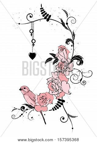 vector border with roses bird and heart in pink colors