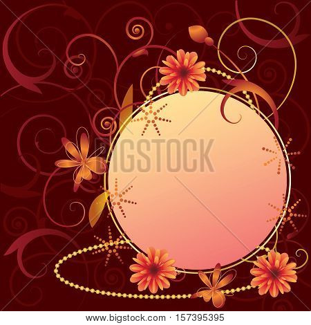 vector ornate frame whith stylized flowers in red colors