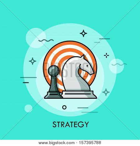 Strategy flat design thin line banner with chess figures and target, can be used for e-mail newsletter, web banners, headers, blog posts, print and more. Modern style logo vector illustration concept