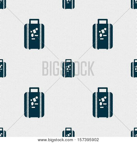 Travel Luggage Suitcase Icon Sign. Seamless Pattern With Geometric Texture. Vector
