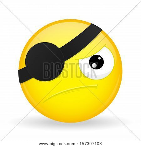 Pirate emoji. Discontent emotion. Angry emoticon. Cartoon style. Vector illustration smile icon.