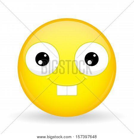 Nerd emoji. Happy emotion. Rabbit smile emoticon. Cartoon style. Vector illustration smile icon.