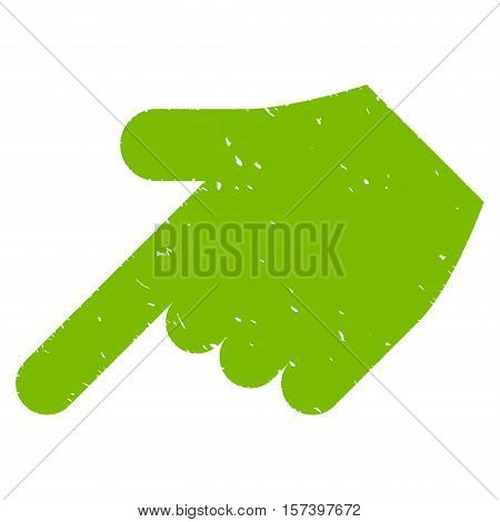 Hand Pointer Left Down grainy textured icon for overlay watermark stamps. Flat symbol with unclean texture. Dotted vector eco green ink rubber seal stamp with grunge design on a white background.