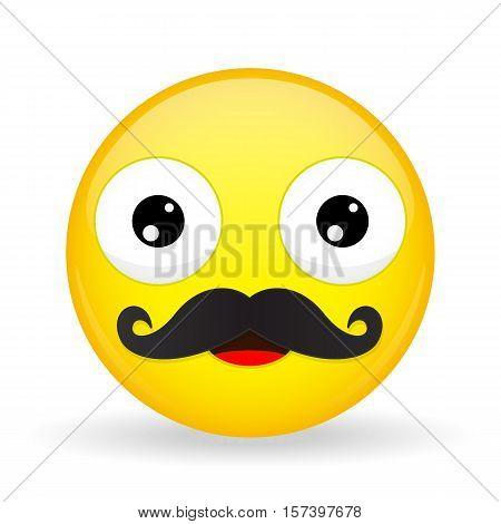Mustache emoji. Happy emotion. Dad emoticon. Cartoon style. Vector illustration smile icon.