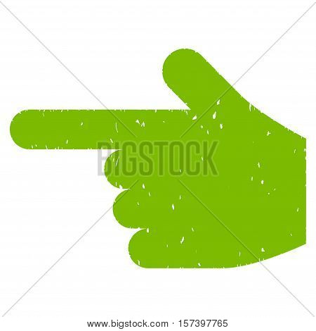 Hand Pointer Left grainy textured icon for overlay watermark stamps. Flat symbol with unclean texture. Dotted vector eco green ink rubber seal stamp with grunge design on a white background.