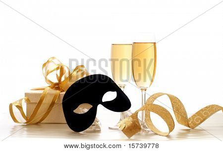 Masquerade Mask and champagne. Happy New Year !