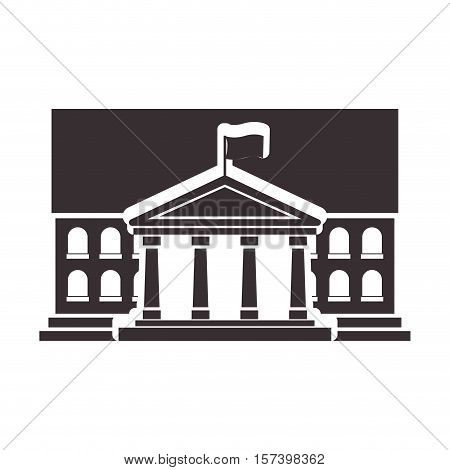 Black silhouette town hall structure with flag vector illustration