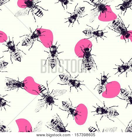 Vector seamless pattern with crawling bees. Vintage style. Inteligent illustration