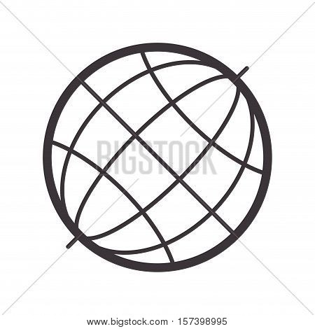 black silhouete sphere world map vector illustration