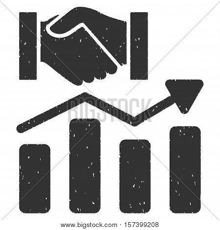 Acquisition Hands Graph Trend grainy textured icon for overlay watermark stamps. Flat symbol with unclean texture. Dotted vector gray ink rubber seal stamp with grunge design on a white background.