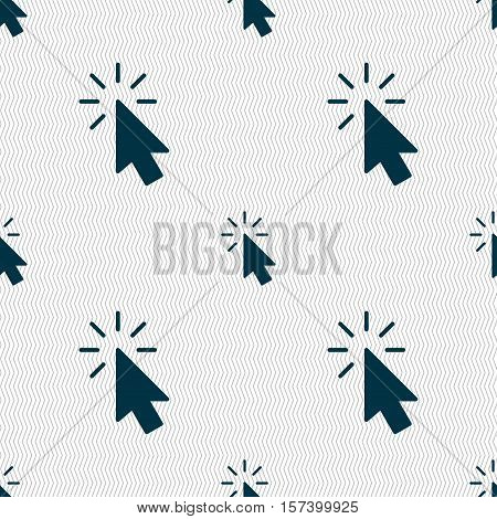 Cursor Icon Sign. Seamless Pattern With Geometric Texture. Vector