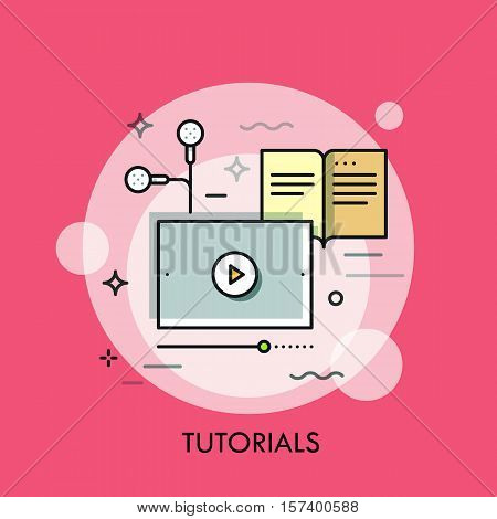 Online studying, distance education, web conferencing and e-learning application concept, video tutorials advertisement. Vector illustration in thin line style for website, blog, banner, header.