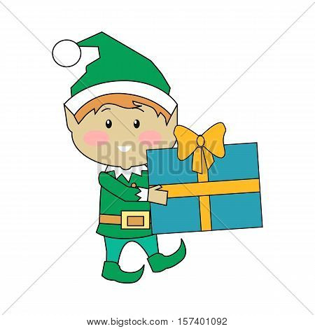 Fairy elves with christmas presents. Flat design vector. Funny Christmas elf in green suits holding, counting, carrying gift boxes with stripes. Winter holidays celebrating symbols. On white