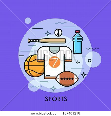 Sports equipment for player, sporting goods and sportswear shop logo. Championship, tournament, competition concept. Vector illustration in thin line style for website, banner, poster, presentation.