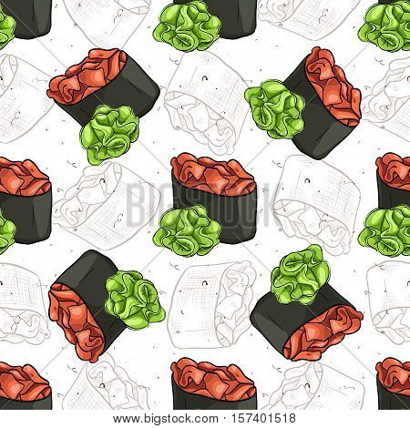 Seamless pattern of sushi Gunkan Spicy Sake with wasabi, color and sketch
