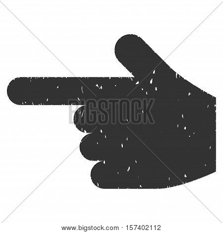 Hand Pointer Left grainy textured icon for overlay watermark stamps. Flat symbol with dust texture. Dotted vector gray ink rubber seal stamp with grunge design on a white background.