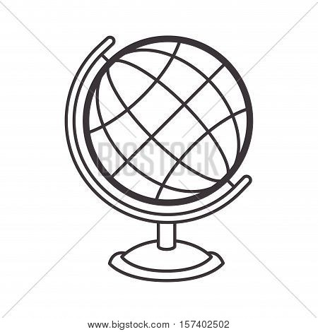silhouete sphere world map with base vector illustration