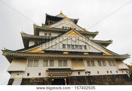 Osaka, Castle, Kansai region, Osaka, Japan on cloudy day
