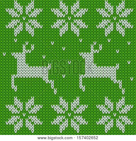 Green Knitted deers sweater in Norwegian style. Knitted Scandinavian ornament. Vector seamless Christmas sweater pattern