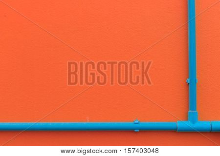 Minimalism Style, Blue Water Tube On The Wall.