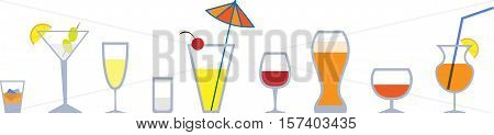 Set of colorful graphic stemware. EPS 10
