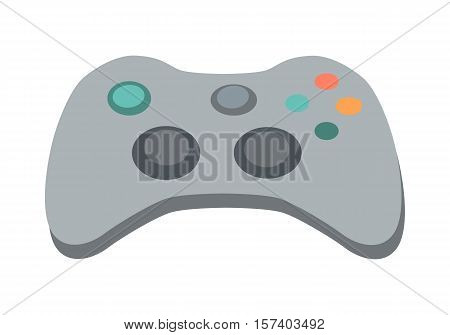 Modern ergonomic gamepad icon. Gaming controller with force feedback buttons flat vector illustration isolated on white background. Input device for game concoles. For app pictogram, ad, web design