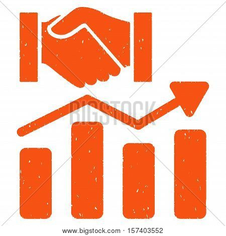 Acquisition Hands Graph Trend grainy textured icon for overlay watermark stamps. Flat symbol with dirty texture. Dotted vector orange ink rubber seal stamp with grunge design on a white background.
