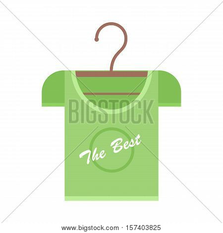 Green t-shirt on a wooden hanger. T-shirt with lettering - The Best. Green t-shirt template. Menswear. Isolated object on white background. Vector illustration.