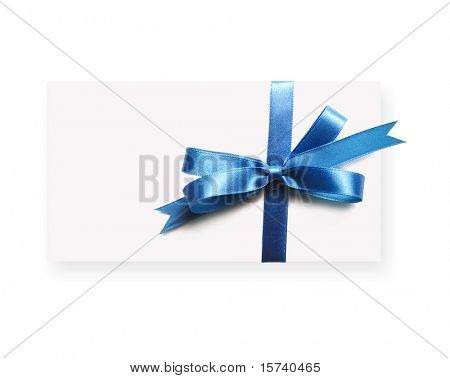Blank gift tag tied with a bow of blue satin ribbon. Isolated on white, with soft shadow