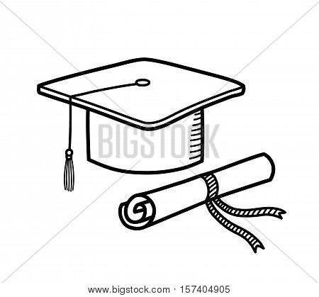 Graduation Cap Diploma Hat Education Doodle. A hand drawn vector doodle illustration of a graduation cap and a diploma.